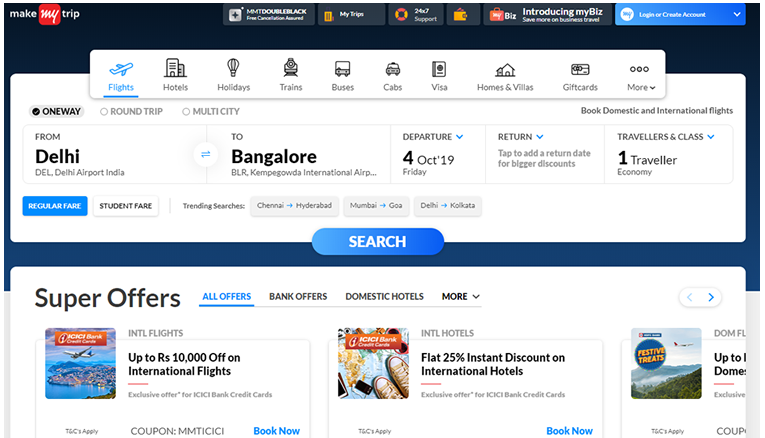 MakeMyTrip Latest offers