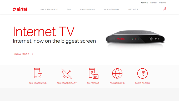 Airtel Website Homepage