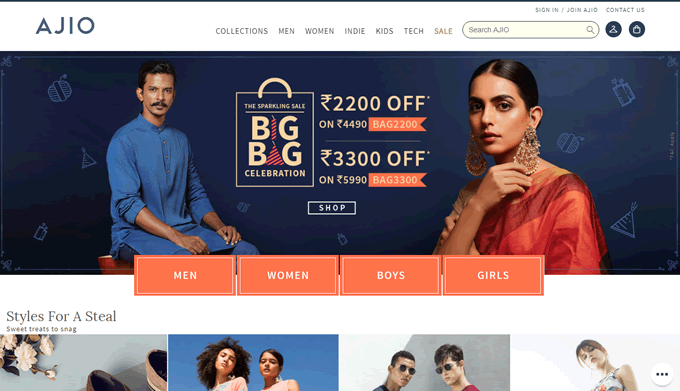 Buy footwear, dresses, saree online on Ajio and get cashback on TopCashback
