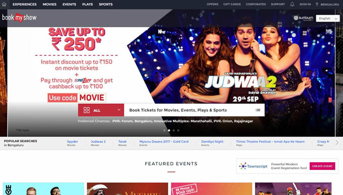 Bookmyshow coupons promo codes, movie ticke vouchers