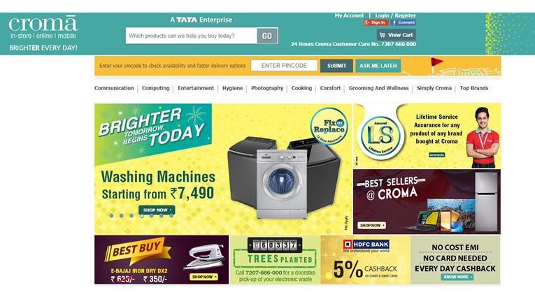 Croma online Sale, Discount and cashback offers