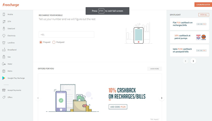 Pay electricity, gas broadband and water bills on FreeCharge and get Cashback