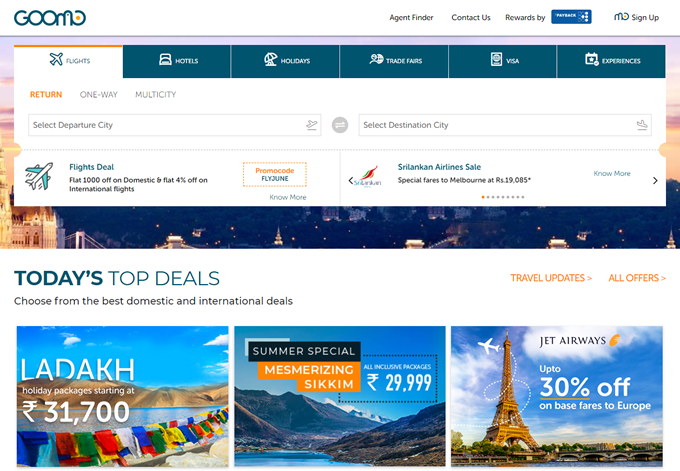 Goomo coupons codes and highest Cashback on TopCashback India