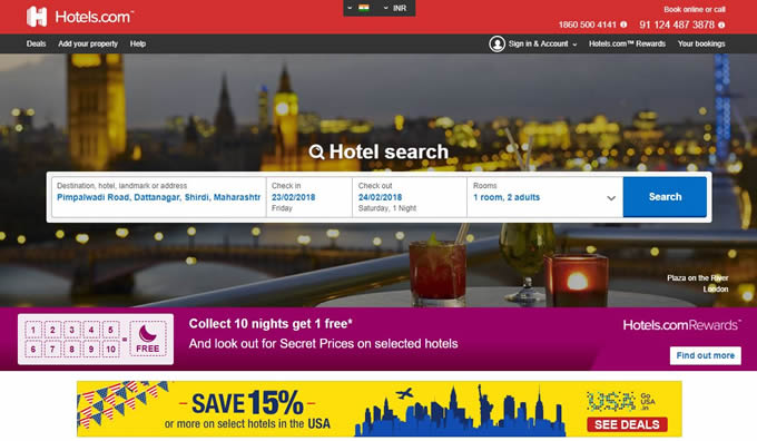 ONline hotel booking cashbackj offers and discoutn coupons for Hotels.com