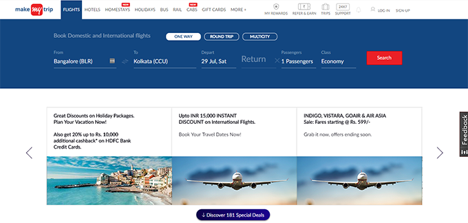 MakeMyTrip cashback offers