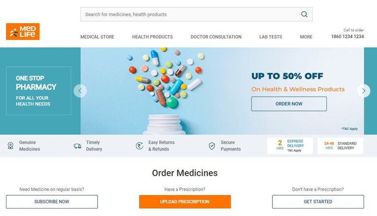 Medlife cashback offers, online pharmacy coupons and deals