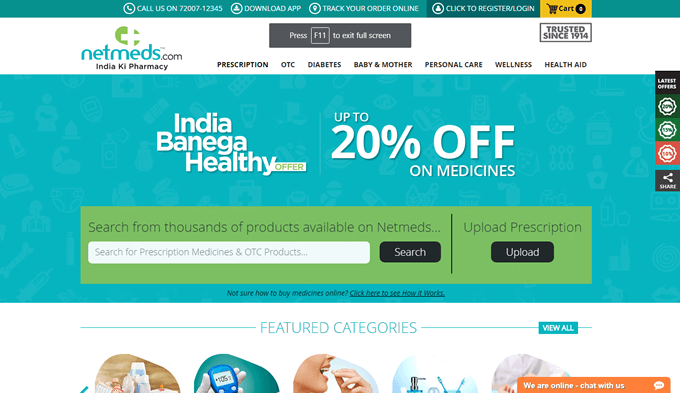 Netmeds offers on prescription medicine on online order