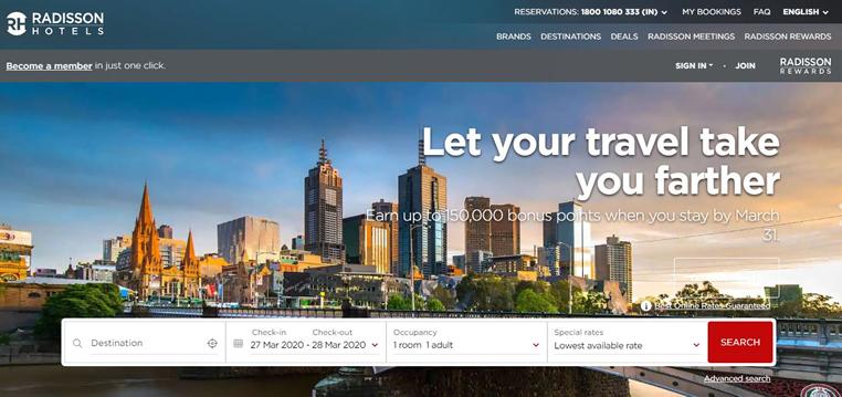 Raddison Hotels Online Booking