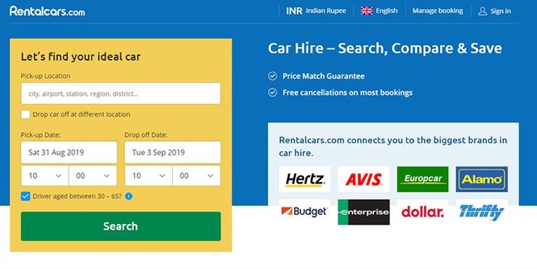 Rentalcars.com online booking
