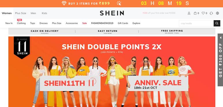 Shein.in Cashback Offers