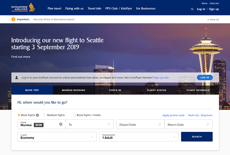 Singapore Airlines Official website