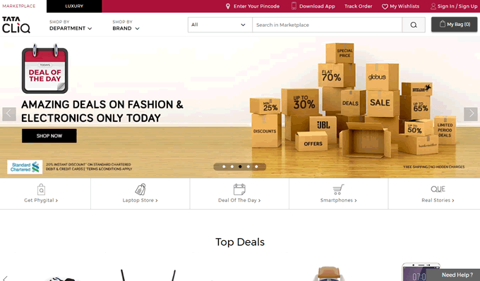 Discover Tatacliq Online Shopping Offers on top brands and get Cashback