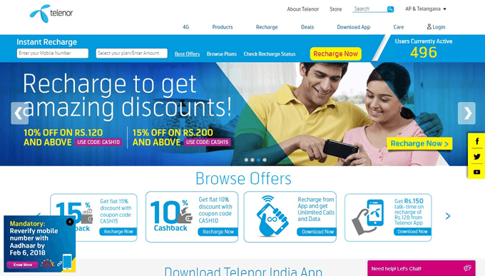 Get discount with latest Telenor Recharge Codes online