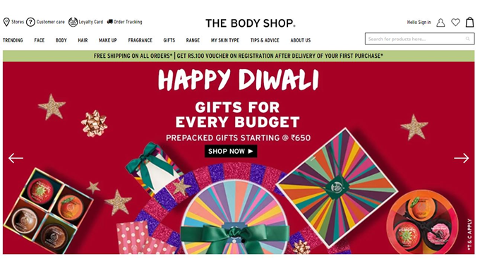 The Body Shop Online Sale, Discount and cashback offers