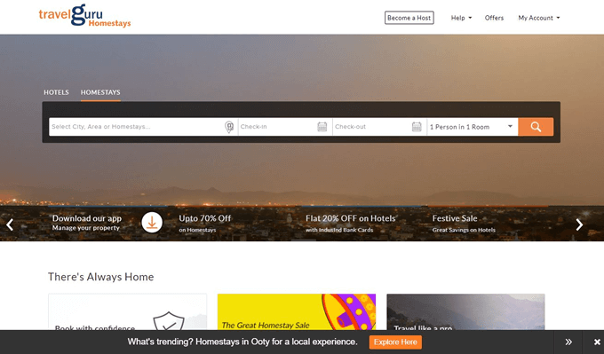 Online Homestay Booking using Travelguru Promo Codes