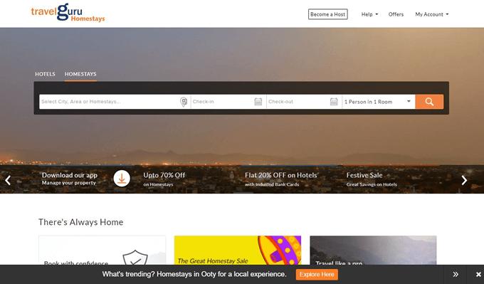 Online Homestay Booking using Travelguru Promo Codes