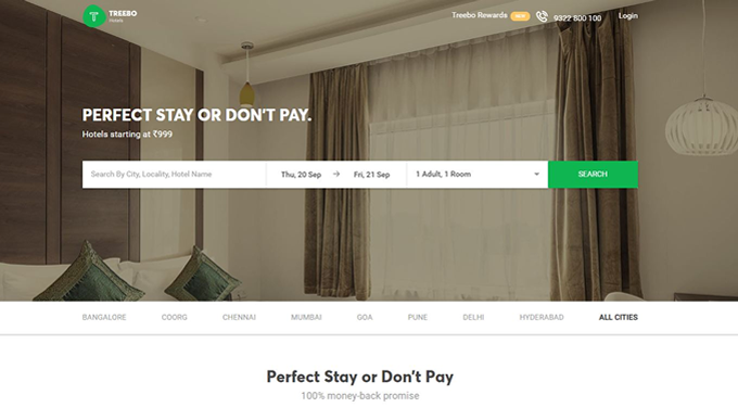 Online hotel booking cashback offers and discount coupons for Treebo.com