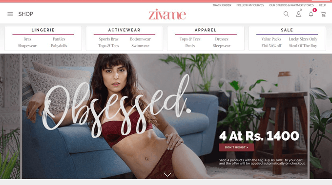 Get top Zivame offers on bras, panties shapewear collection, other fashion items and accessories